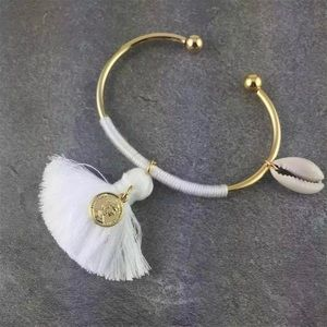 {coming soon} White and Gold Boho Bangle Bracelet
